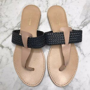 Country Road Navy Beige Leather Thongs Sandals